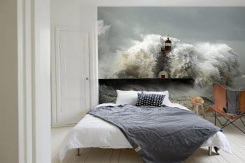 Papier peint chambre tempête Phare submergé