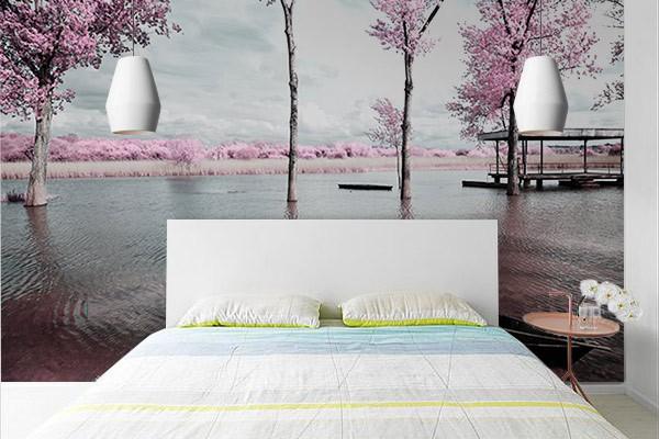 Papier peint chambre rive de cerisiers izoa - Papier peint contemporain chambre ...