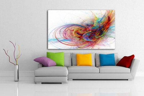 Tableau design decoration murale original pour salon izoa - Tableau design colore ...