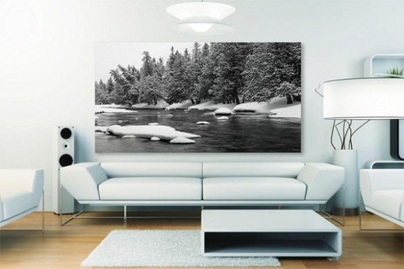 Tableau salon paysage d'Hiver