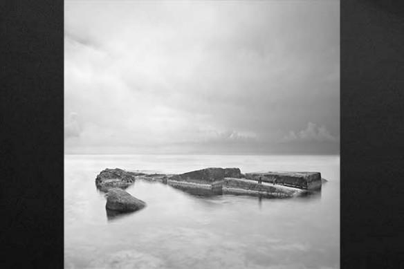 paysage marin noir et blanc