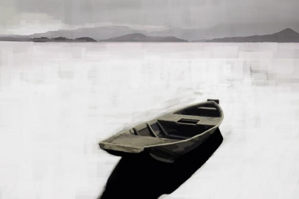 Tableau noir et blanc barque abandonnée