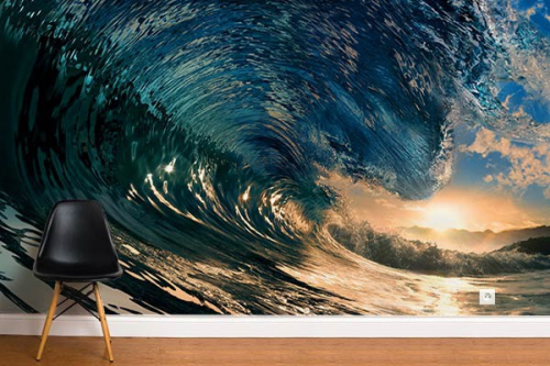 poster mural d co wave izoa. Black Bedroom Furniture Sets. Home Design Ideas