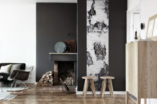 Papier peint zen scandinave Ecorce Boulot Blanc
