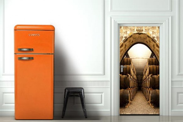 Déco porte Tonneaux de vins
