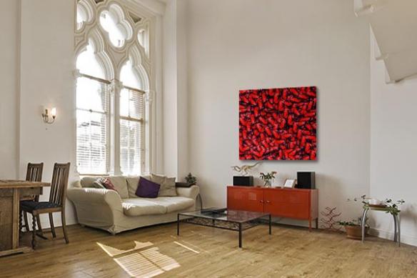 Tableau décoration Papillons rouges