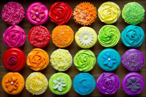 Cadre cuisine couleur vive cupcakes