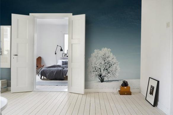 Papier peint chambre Prairie enneigée