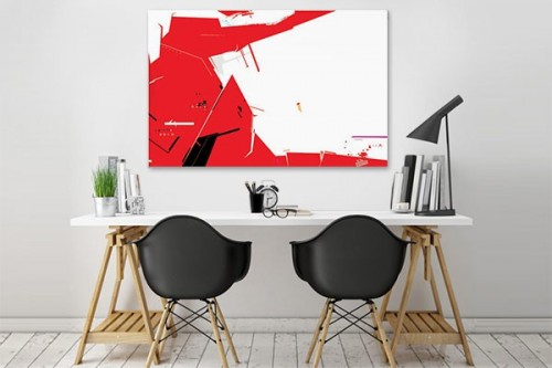 Toile design Decibel abstrait rouge