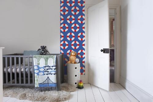 Papier peint chambre enfant Bouées Blanches et rouges