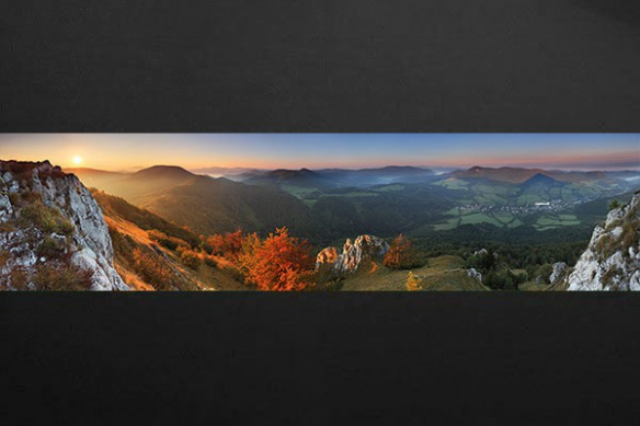 Doux matin vallée montagneuse frise murale
