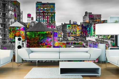 papier peint new york tag d co th me street art. Black Bedroom Furniture Sets. Home Design Ideas