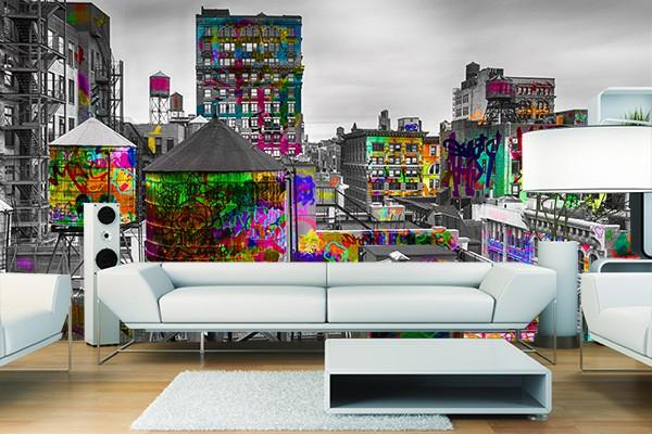 papier peint new york tag d co th me street art. Black Bedroom Furniture Sets. Home Design Ideas