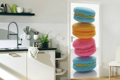 fabulous sticker porte cuisine macarons tricolores with. Black Bedroom Furniture Sets. Home Design Ideas