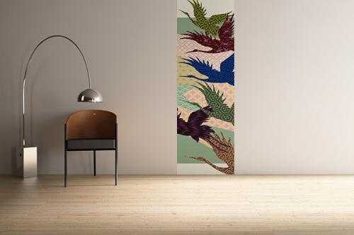 Papier peint Hérons deco patchwork