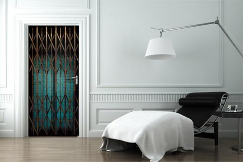 sticker porte grille ascenceur trompe oeil autocollantdesign. Black Bedroom Furniture Sets. Home Design Ideas