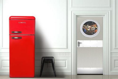 sticker porte gris izoa. Black Bedroom Furniture Sets. Home Design Ideas