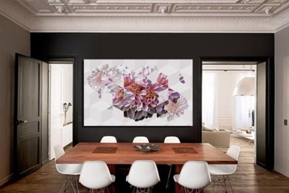 Tableau contemporain Fleur Géométrique