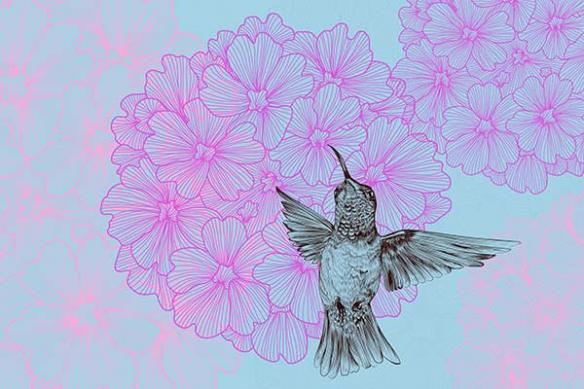 Tapisserie fleurie moderne et colibri
