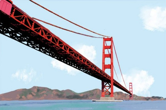 grand Tableau moderne Golden Gate