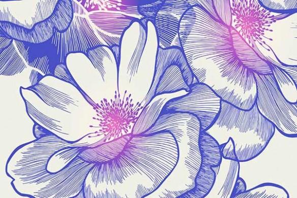 tapisserie fleurs Bowl of beauty bleu