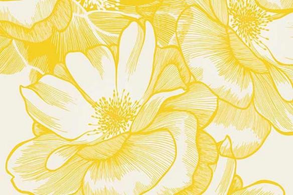 tapisserie murale fleur jaune Bowl of beauty