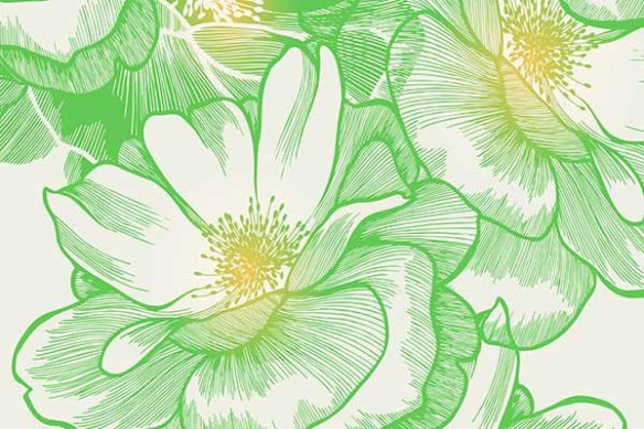 papier peint à fleurs verte Bowl of beauty