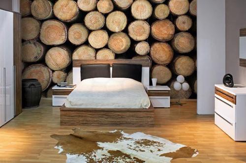 Papier peint chambre rondins de bois izoa Tapisserie trompe l oeil porte