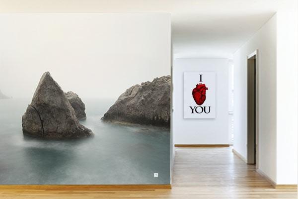 D coration murale rochers en bord de mer izoa for Papier peint bord de mer