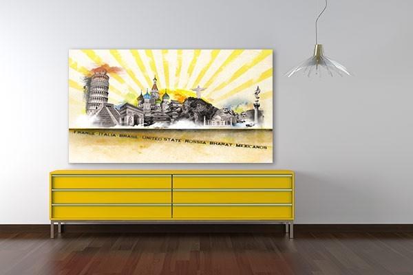 Tableau moderne merveilles du monde by marion lechat izoa for Tableau original pour salon