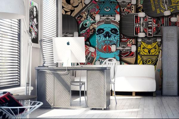 Papier peint chambre ado Skates : Tapisserie murale moderne et