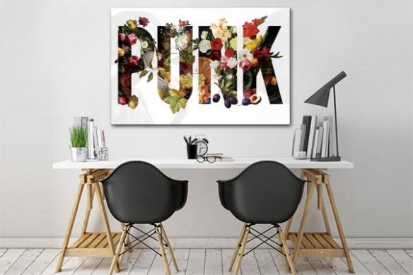 Toile imprimée Fleurs Punk