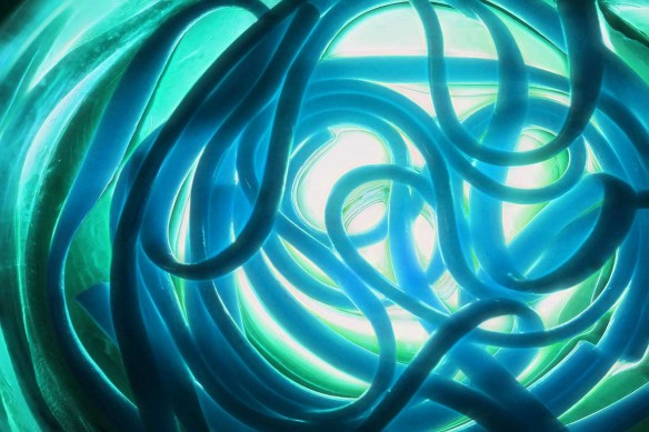 Tableau contemporain bleu ciel lyra