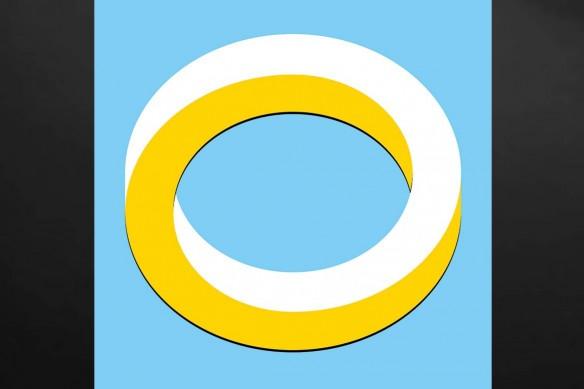Tableau abstrait looping jaune