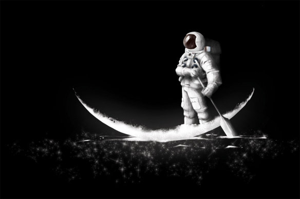 Papier peint original pirogue astronaute