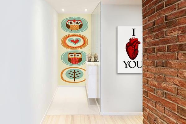 papier peint scandinave hibou tr s chou izoa. Black Bedroom Furniture Sets. Home Design Ideas
