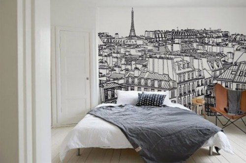 papier peint sur les toits de paris izoa. Black Bedroom Furniture Sets. Home Design Ideas