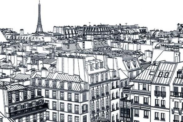 Papier peint décoration Toits de Paris