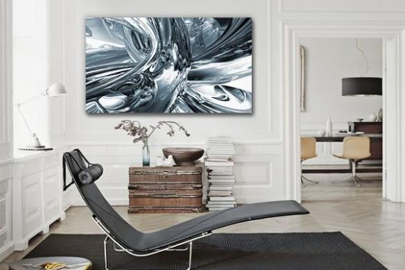 Toile décoration design platine gris