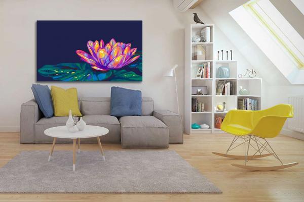 d co zen avec un tableau color nenuphare. Black Bedroom Furniture Sets. Home Design Ideas