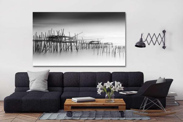 tableau noir et blanc village de pecheurs. Black Bedroom Furniture Sets. Home Design Ideas