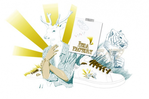 toile design Izoa mural Factory by Mathieu Gazaix jaune