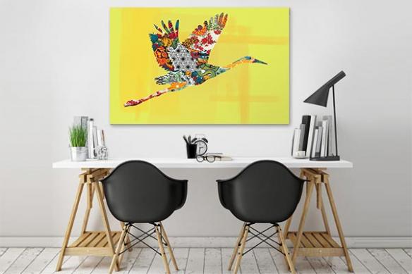 Tableau coloré Envol de cigogne