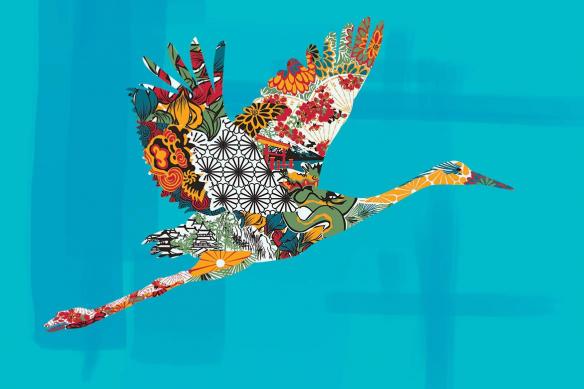 Déco design bohème Envol de cigogne bleu