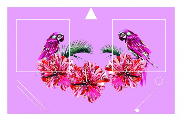 Tableau original Tropical Chic rose