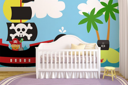 papier peint chambre enfant a l 39 abordage izoa. Black Bedroom Furniture Sets. Home Design Ideas