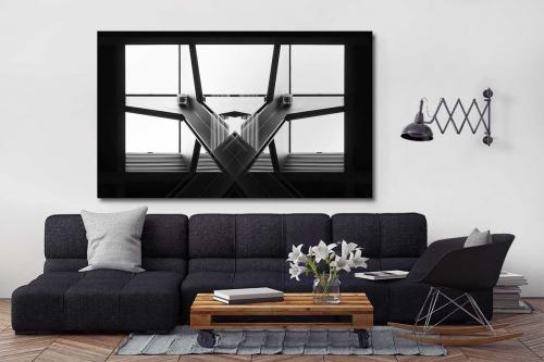 Taleau abstrait noir et blanc Bilatérale
