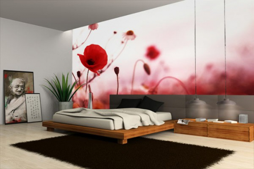 poster mural coquelicots izoa. Black Bedroom Furniture Sets. Home Design Ideas