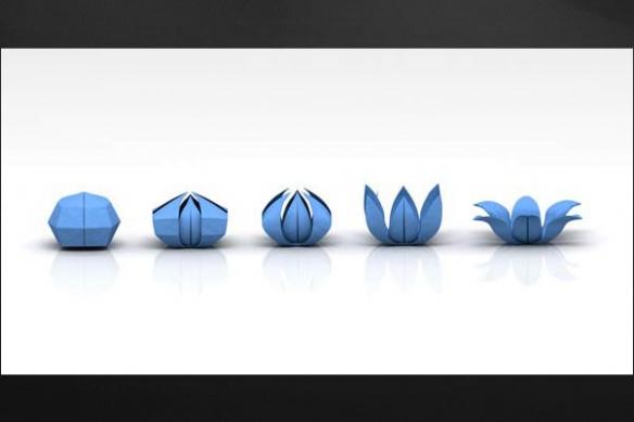 toile moderne decoration origami fleur bleu