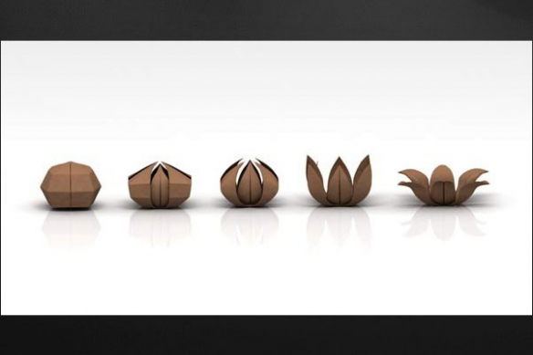 Tableau romantique deco Origami marron